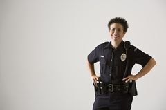 le för kvinnlig polis royaltyfri foto