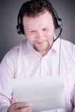 le för service för operatör för kundhörlurar med mikrofon male Royaltyfria Foton