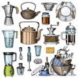 Le fabricant de café ou la broyeur, Français pressent, mesurant la capacité, la passoire ou le mélangeur Chef et ustensiles sales Photos libres de droits