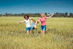Le famiglie hanno divertimento nel campo Fotografie Stock Libere da Diritti