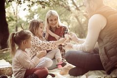 Le familjen som har picknicken i, parkera tillsammans och samtal royaltyfri bild