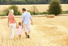 Le famille marchant ensemble par l'été a moissonné F Image stock