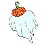 Le fantôme drôle de vol avec un potiron au lieu d'une tête, est isolé Illustration Stock