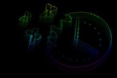 Le farfalle al neon volano da un orologio di parete Fotografie Stock
