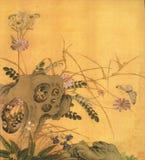Le farfalle ed i fiori si sviluppano accanto alle pietre sconosciute illustrazione vettoriale