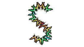 Le farfalle multicolori animate arrivano, formano una lettera s archivi video