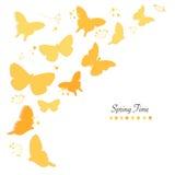 Le farfalle progettano e sottraggono il fondo di vettore della cartolina d'auguri di tempo di molla dei fiori Fotografie Stock