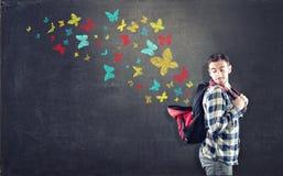 Le farfalle variopinte della lavagna Immagini Stock Libere da Diritti