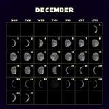 Le fasi lunari registano per 2019 con la luna realistica dicembre Vettore Fotografia Stock