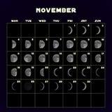 Le fasi lunari registano per 2019 con la luna realistica novembre Vettore Fotografia Stock