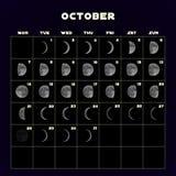 Le fasi lunari registano per 2019 con la luna realistica ottobre Vettore Fotografia Stock