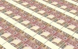 Le fatture dei dinari della Giordania hanno impilato il fondo Fotografia Stock