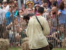Le fauconnier médiéval 3 du festival 2016 Photo libre de droits