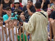 Le fauconnier médiéval 5 du festival 2016 Images libres de droits