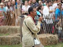 Le fauconnier médiéval 14 du festival 2016 Image libre de droits