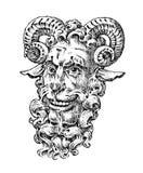Le faune ou satyre en mythologie antique Créature grecque d'imagination Divinité de forêt Style de gravure de vintage vieux tiré  illustration stock