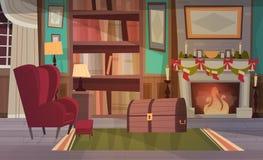 Le fauteuil vide près a décoré la cheminée, la décoration intérieure de maison pour Noël et le concept de vacances de nouvelle an Photos libres de droits