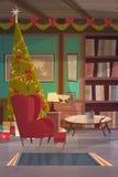 Le fauteuil vide près a décoré le pin, la décoration intérieure de maison pour Noël et le concept de vacances de nouvelle année Image stock