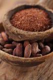 Le fave di cacao ed il cioccolato fondente grattato in vecchi cucchiai texured lanciano Fotografia Stock Libera da Diritti