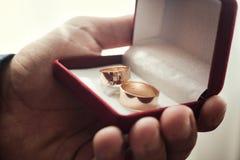 Le fedi nuziali si trovano in una bella scatola di nozze, nozze, ` s m. dello sposo Fotografie Stock