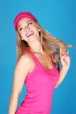Le femme assez jeune heureux vont chanceux Images stock