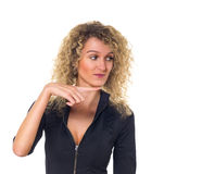 Le femme d'affaires affiche un sens Images libres de droits