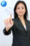 Le femme d'affaires connectent le concept d'email Image libre de droits