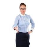Le femme d'affaires donne une prise de contact Images libres de droits