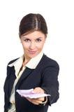 Le femme d'affaires offre l'argent Photo stock