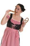 Le femme dans la robe bavaroise Images libres de droits