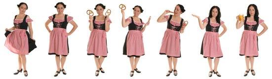 Le femme dans la robe bavaroise. Collage. Images stock