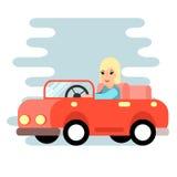 Le femme derrière la roue Voiture rouge, conception plate illustration de vecteur