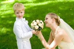 Le femme et l'enfant Photos stock