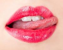 Le femme lèche ses languettes. Photo libre de droits