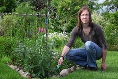 Le femme travaille dans le jardin photos stock