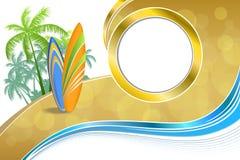 Le feste astratte della costa di mare del fondo progettano il giallo blu della spiaggia verde arancio dei surf Fotografia Stock