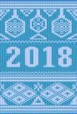 Le feste di Buon Natale hanno tricottato l'insegna, nuovo 2018 anni, Fotografia Stock Libera da Diritti