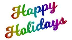 Le feste felici 3D calligrafico hanno reso l'illustrazione del testo colorata con la pendenza dell'arcobaleno di RGB Fotografie Stock Libere da Diritti