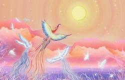 Le festival de gâteau de lune de festival de Mi-automne, cent oiseaux vers Phoenix fleurissent l'emballage rond d'illustration de illustration de vecteur