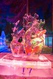 Le festival de glace-lanterne de cerfs communs de sika Photographie stock libre de droits