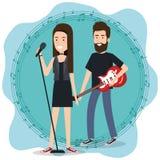 Le festival de musique vivent avec des couples jouant la guitare électrique et chantent illustration stock