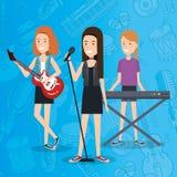 Le festival de musique vivent avec des femmes jouant des instruments et chantent illustration de vecteur