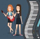Le festival de musique vivent avec des femmes jouant la guitare électrique et chantent illustration de vecteur