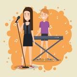 Le festival de musique vivent avec des femmes jouant le piano et chantent illustration stock