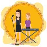 Le festival de musique vivent avec des femmes jouant le piano et chantent illustration de vecteur