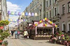 Le festival Pâques à Moscou, la décoration dans le pereulok de Stoleshnikov Photographie stock libre de droits