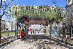 Le festival Pâques à Moscou, la décoration du boulevard de Tverskoy Photo libre de droits