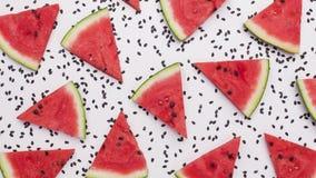 Le fette dell'anguria che oscillano fra i semi del melone, fermano il moto illustrazione vettoriale