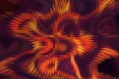 Le feu abstrait flambe sur un fond noir et violet Et effet de pyramide Photographie stock libre de droits