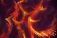 Le feu abstrait flambe sur un fond noir et violet Et effet de pyramide Photos stock